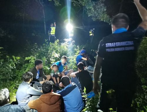 Funkcjonariusze Śląskiego Oddziału Straży Granicznej zatrzymali kierowcę ciężarówki oraz 34 cudzoziemców, którzy nielegalnie przekroczyli granicę